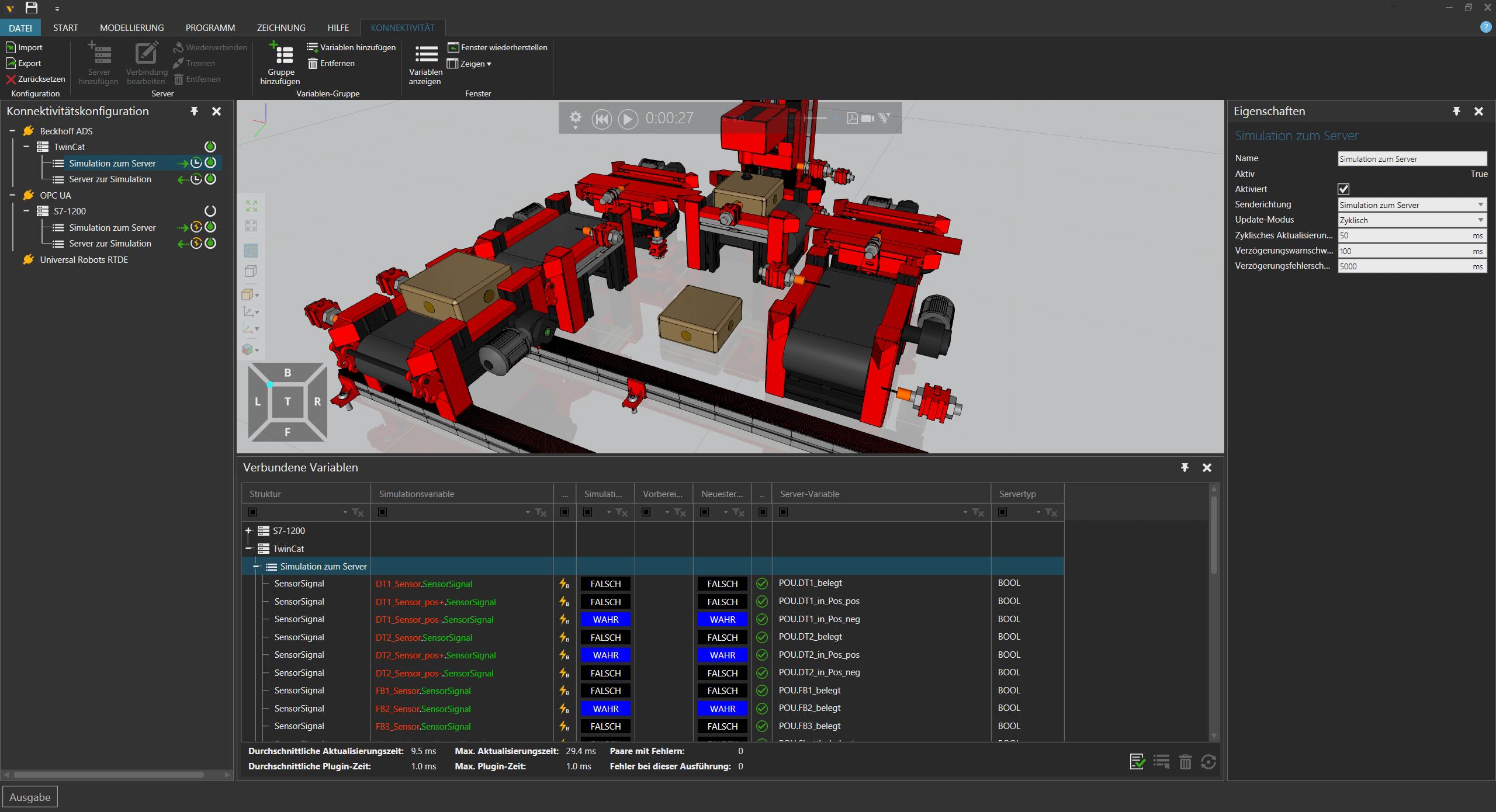 Virtuelle Inbetriebnahme - Verbindung mit Simulator