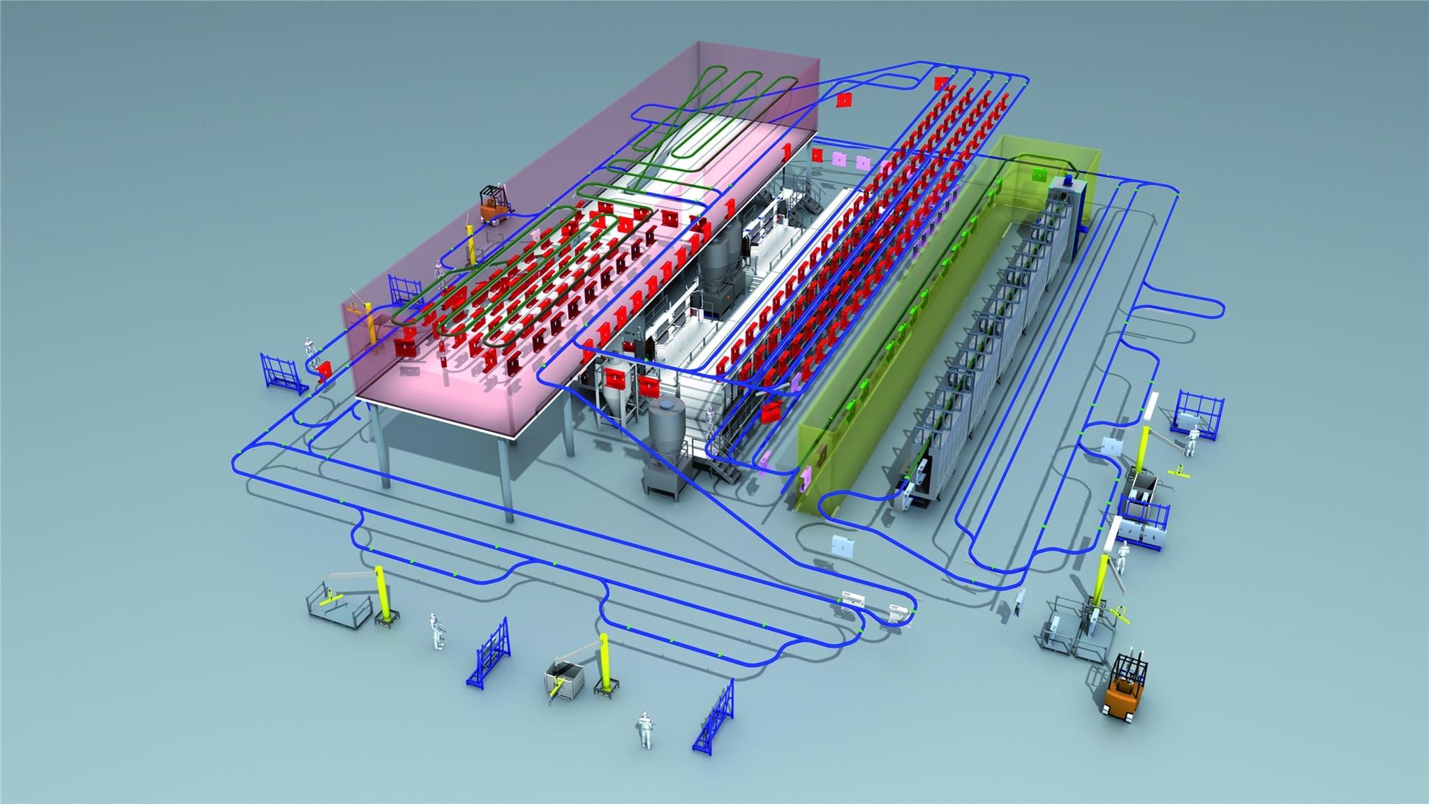 Simulation hängende Fördertechnik bei KEWESTA