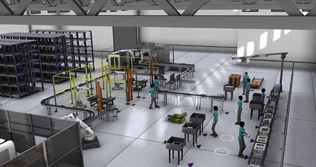 Montagelinie im Fabrikdesign - durchgängiger Prozess