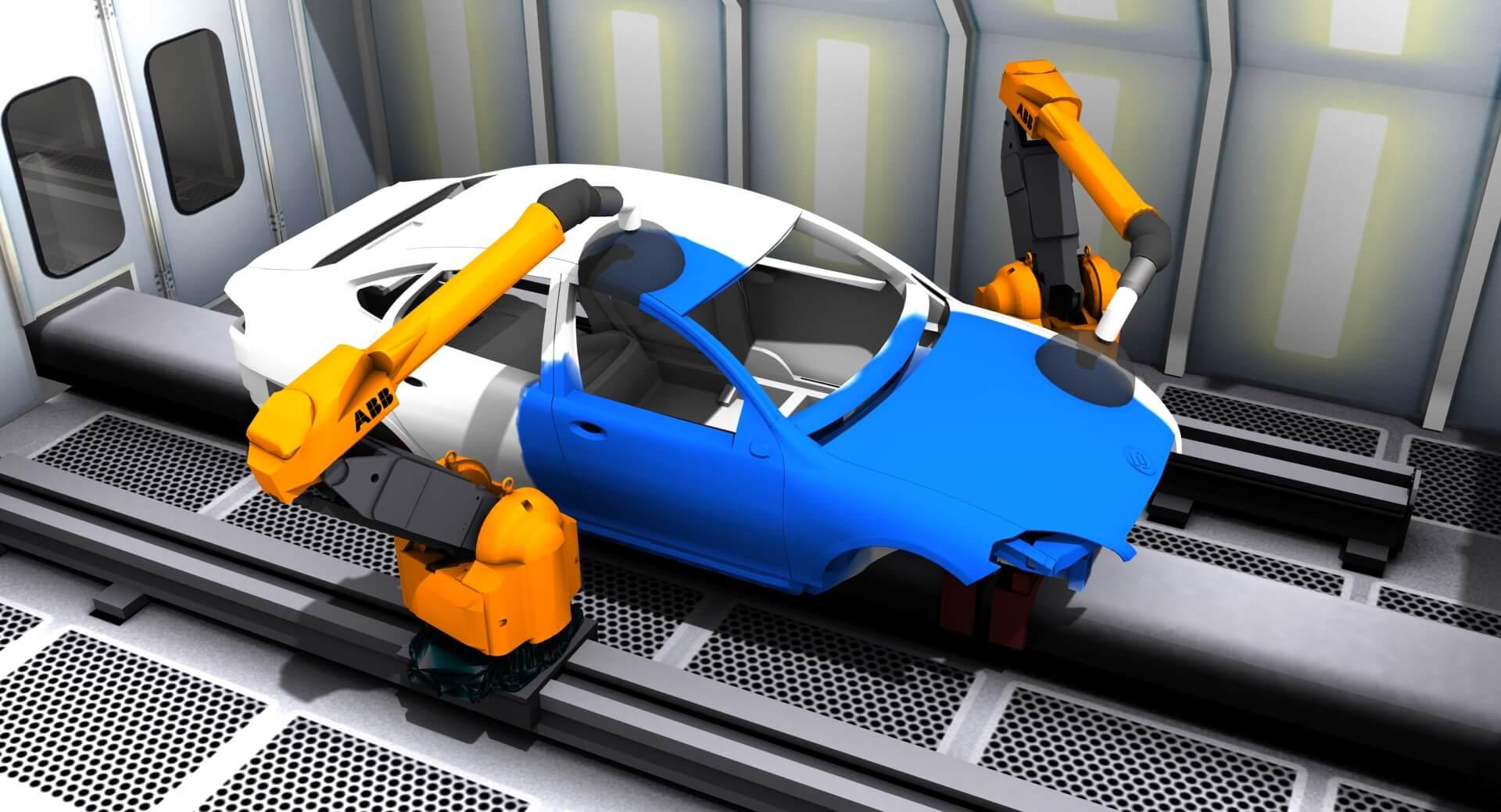 Delfoi Robotics Software - Delfoi PAINT Lackierlinie mit ABB-Robotern